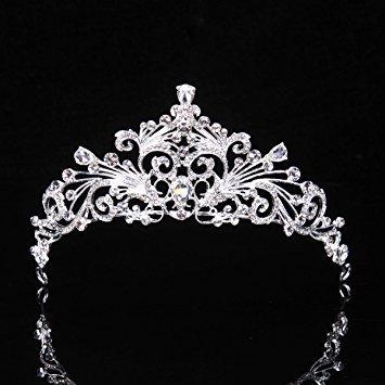 Topwedding Rhinestone Flower Blossom Inspired Wedding Tiara Bridal Crown Headpiece, Women