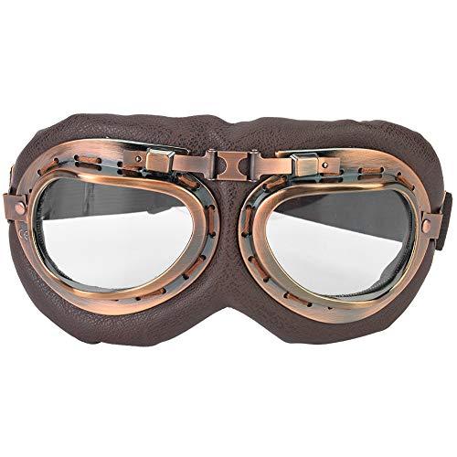 Motorradbrillen Retro Vintage Fahrrad Sonnenbrille Winddicht Pilotenbrille Sport Schutzbrille Sportbrillen Ski Motorrad Roller Brille Helmbrille für Motorrad Roller Radfahren Skifahren(transparente)