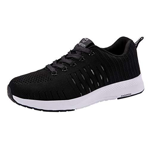 CUTUDE Damen Herren Sneaker Laufschuhe Paar Outdoor Mesh Atmungsaktiv Laufschuhe Leichte Strap Sneakers Schuhe Jogging Laufen Basketball Frühling Sommer (Schwarz, 39 EU)