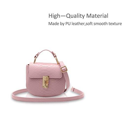 NICOLE&DORIS Ragazze carine borsa a tracolla alla moda borsa del messaggero di Crossbody della maniglia Borsa multiuso PU cielo blu rosa chiaro