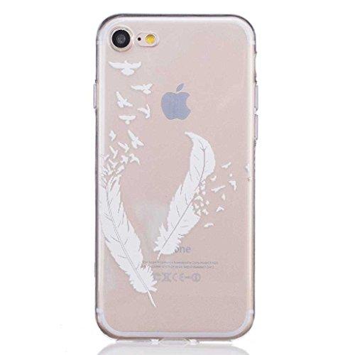 iGrelem® Cover per iPhone 7, con protezione per lo schermo in vetro temperato, Ultra sottile, trasparente, morbida, in TPU, per Apple iPhone 7da 4,7, motivo a scelta con fiori, farfalle, piume color Feather #2, White