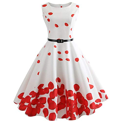 Robe de Soiree Femme, Vintage 1950's Audrey Hepburn Rétro Pin-up Ceremonie Robe Cocktail Couleur Unie sans Manches Grande Taille Années 50 60 à Pois Rockabilly Party Dress JiaMeng (Blanc-2, S)