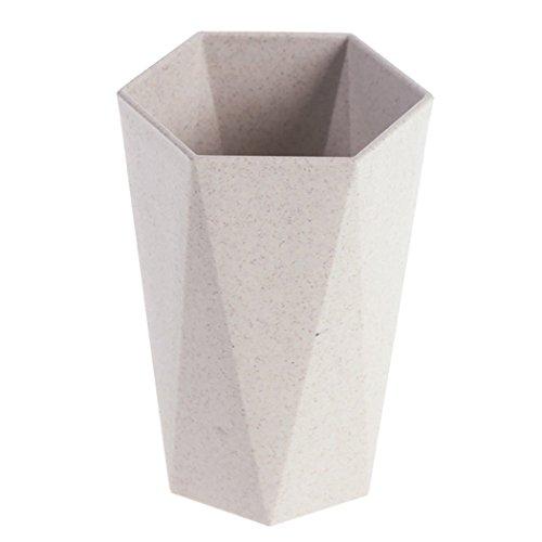 Eastever Zahnbürste Waschen Tasse, Weizen Stroh Kunststoff Mug Becher, Creative Geometry Brushing Paar Water Cup, Verwendung für Wasser, Kaffee, Milch, Saft & Tee - Gelb