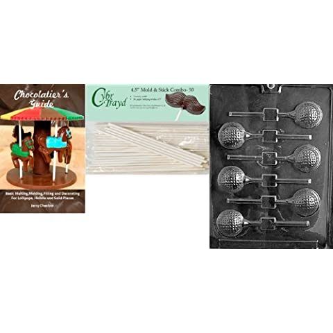 Cybrtrayd 'Golf Ball Lolly' Sports Chocolate Candy Mold with 50 4.5-Inch Lollipop Sticks and Chocolatier's Guide by
