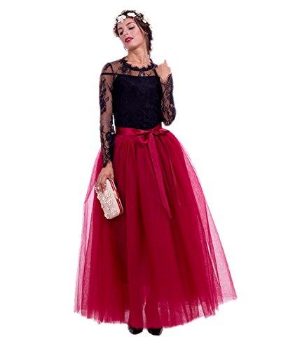 Honeystore Damen's Tüllrock Lang 5 Layer Prinzessin Kleider Lang Petticoat Ballettrock Maxi Unterrock Pettiskirt Lang One Size (Hippie Diy Kostüm Halloween)