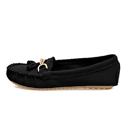 Pompons Givrés Chaussures Plates Rondes Black