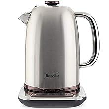 Breville Temperature Select Electric Kettle | 1.7 L | 3kW Fast Boil | Smart Digital Controls | Brushed Nickel (Silver/Grey), [VKT159]