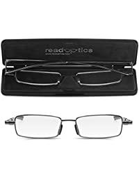 0461de5b7576e Read Optics Foldable Reading Glasses Fold Up Flat in Thin Travel Case   +2.00 Mens Ladies Patented Ultra Slim Folding Ready Readers…