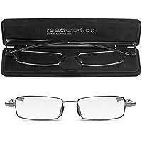 Read Optics- Gafas Hombre/Mujer Plegables de Lectura Vista | Graduadas +2.50 Dioptrías | Compactas con Bisagras de Resorte - Sistema Patentado | Color: Gris Plomo - Incluye Estuche Rígido