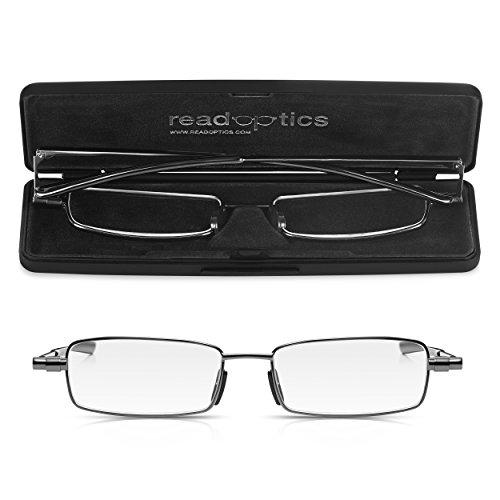 Read Optics flache Lesebrille +1,0 Dioptrien. Faltbare Brille mit Vollrand und patentierten Premium DifuzerTM Gläsern. Für Herren und Damen inkl dünnem Hartschalen-Etui. Lebenslange Garantie -