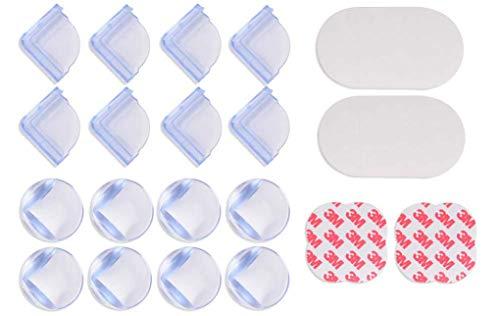winnprime Baby-Schutzecken für Ecken, groß, transparent, Hohe Widerstandsfähigkeit, 3M-Klebemittel, Tablets, Möbel und Scharfe Ecken, Baby-sicher, 16 Stück in L-Form und Kugelform