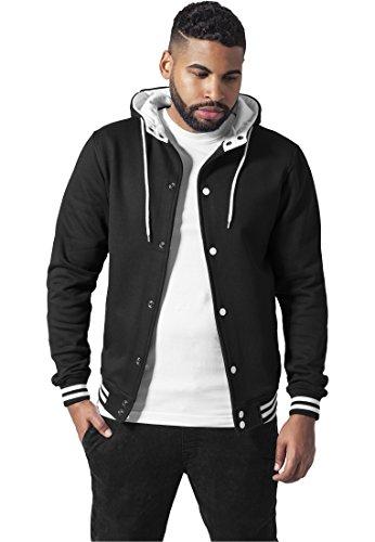 Urban Classics Herren Sweatjacke Hooded College Sweatjacket Blk/Wht