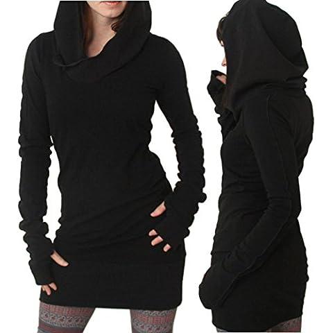 Vestito Esxy, Reasoncool Donna Autunno Inverno manica lunga colore puro con cappuccio cappuccio Slim Fit cappotto Minigonna