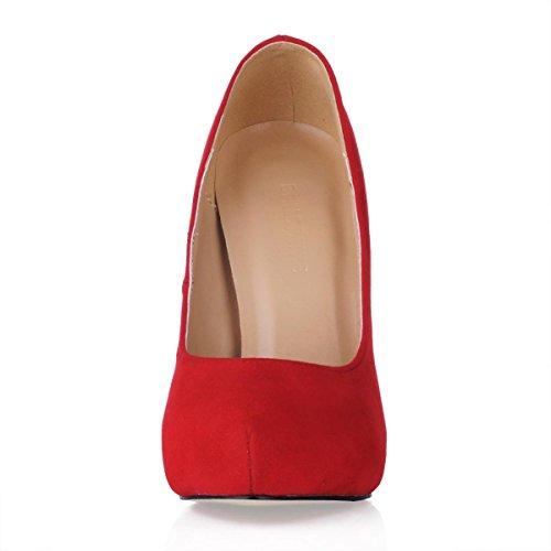 Best 4U® Scarpe da donna Suede Suola in gomma Punta tonda 11cm Tacco a spillo alto 1 cm Piattaforma Autunno Inverno Tinta unita Red