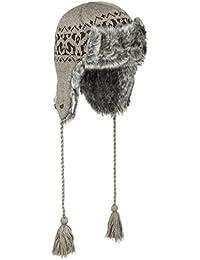 Seeberger Vitosha Lapeer Wintermütze mit Fell (Kunstfell) in den Farben Grau und Dunkelbeige (Beige), Mütze in Einheitsgröße (ca. 55-59 cm), kuschelige Strickmütze mit Kordeln und Ohrenschützern