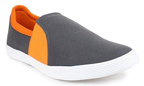 Portez des chaussures loafer partie de toile des hommes glissent sur les chaussures d'entraînement Gris et orange