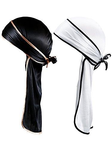 Seidig Durag Langen Schwanz Kopfbedeckungen Breite Riemen Pirat Cap Glatte Hut (Farbe Set 1) (Herren Turban Hut)