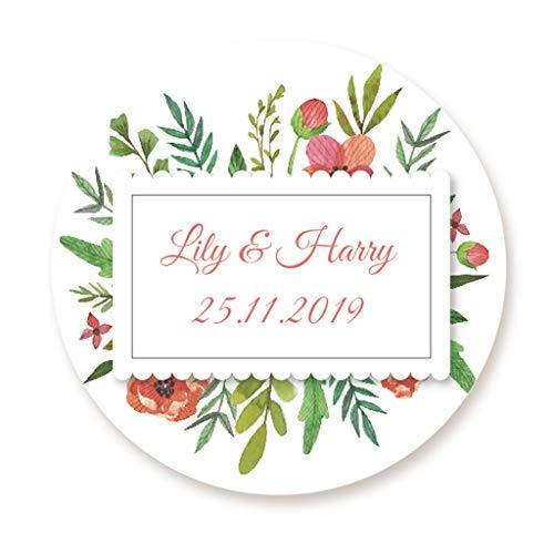 �ck personalisiert Hochzeitssticker Tropische Pflanze Aufkleber - 4 cm für die Hochzeit,Taufe,Feier,Gastgeschenk,Tischdeko,Flaschen, Tüten, Briefen, Einladungen - Rd 261 ()