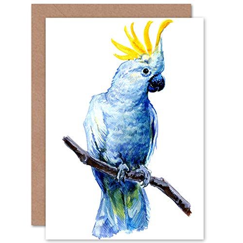 Wee Blue Coo LTD Bird Cockatoo Painting Greeting Card with Envelope Inside Premium Quality Vogel Malerei -