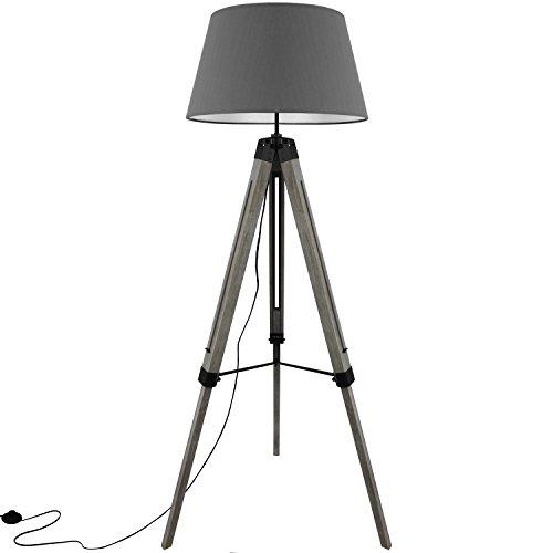 Grundig Tripod Stehlampe mit Textilschirm E27 40W H100-150cm in 3 Farben Stehleuchte Stativlampe Stativleuchte, Farbe:Grau