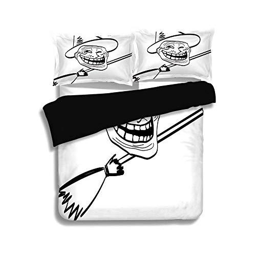 Set, Humor-Dekor, Halloween-Geist unter dem Motto Hexe Guy Meme LOL Joy Spooky Avatar kunstvolles Bild, schwarz weiß, dekorative 3-teiliges Bettwäscheset von 2 Pillow Shams ()