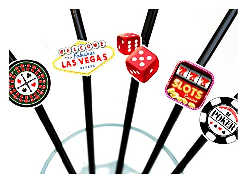 ous Las Vegas - Bendy Cocktail Strohhalme - Casino Poker Nacht Karten Party / James Bond Theme Dekorationen ()