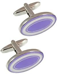 COLLAR AND CUFFS LONDON - PREMIUM Cufflinks WITH PRESENTATION GIFT BOX - High Quality - Dual Colour Oval - Solid Brass - Classic Style - Purple and White Colours