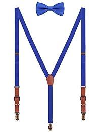 WANYING Set de Tirantes Pajaritas para Hombre Mujer - Ajustables Elásticos Tirantes con Cuero PU Retro para Unisex Altura 140-190cm