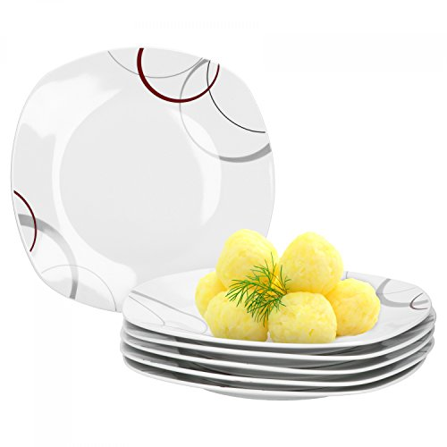 6er Set Essteller flach Palazzo 25cm - Speiseteller aus weißem Porzellan mit Dekor-Kreisen in grau...