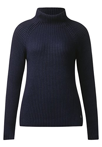 Street One Damen Gerippter Turtleneck Pulli evening blue
