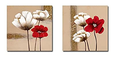 Wieco Art - Red and White Flowers Modern Framed Giclee Canvas Prints Artwork 2 Panels Abstract Floral Oil Paintings Style Pictures Photo Printed on Canvas Wall Art for Bedroom Home Decorations - inexpensive UK light shop.
