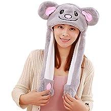 Woneart Chapeau d oreille Animal en Peluche Oreille de Lapin avec Oreilles  Mobiles Chapeaux de 8bbbdc471dd