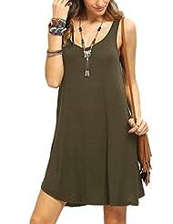 FEITONG De las mujeres Sin mangas Mini vestido corto Chaleco Verano playa Largo Tops Camiseta (Army Green, S)