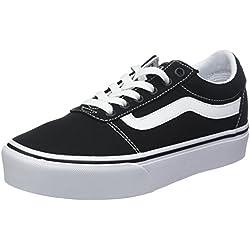 Vans Ward Platform Canvas Zapatillas Mujer, Negro (Canvas) Black/White 187), 42 EU (8 UK)