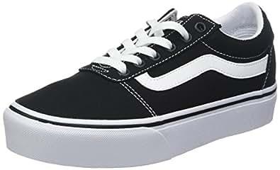 Vans Ward Platform, Sneakers Basses Femme, Noir ((Canvas) Black/White 187), 34.5 EU