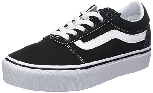 Vans Ward Platform Canvas Scarpe da Ginnastica Basse Donna, Nero (Canvas) Black/White 187), 39 EU