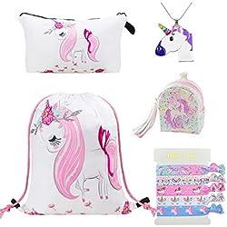DRESHOW 5 Paquete Lindo Unicornio Mochila con cordón/Maquillaje/PU Monedero Bolsos de embrague/Collar de cadena de aleación/Unicornios para el cabello para niñas (5 Pack White O Unicorn)
