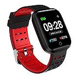 Azorex SmartWatch Multifunción Reloj Inteligente Cuadrado Deportivo Impermeable IP67, Pulsera Actividad Control Remoto para iPhone Xiaomi, Huawei Samsung Correa Silicona Rojo