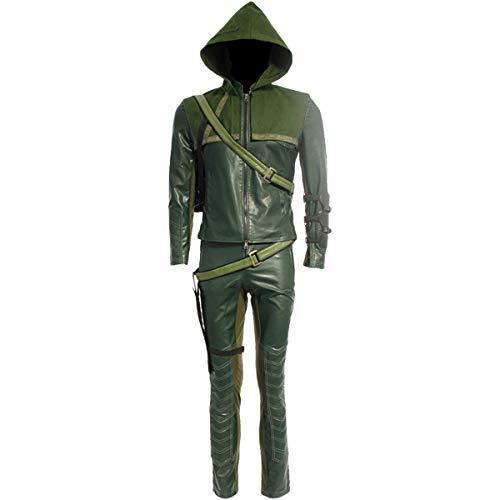 Gürtel Kostüm Erwachsene Für - QWEASZER clothing Halloween Pfeil Oliver Königin Kostüm Herren grün Leder Anzug für Erwachsene Kostüm Kleidung Tops Hosen Gürtel Handschuhe Kapuze-anpassbare Größe,Arrow-XL