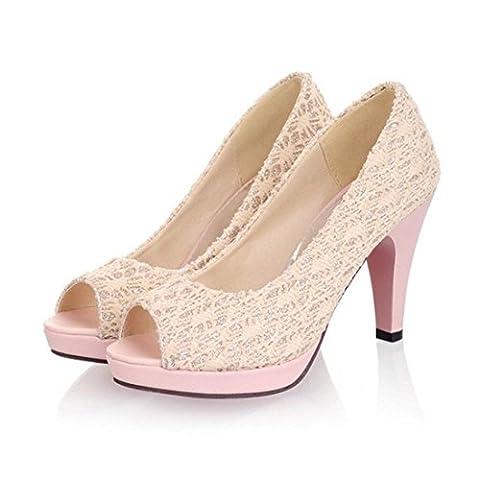 Women Stiletto Peep Toe Lace Casual Platform Pumps Shoes Beige / US 9