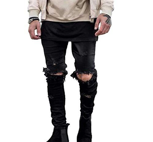 Männer Nner Jeans Ripped Slim Fit Vintage Jungen Motorrad Hosen Denim Hip Hop Streetwear Hosen Männer Nner Freizeithosen (Color : Schwarz, Size : 31)