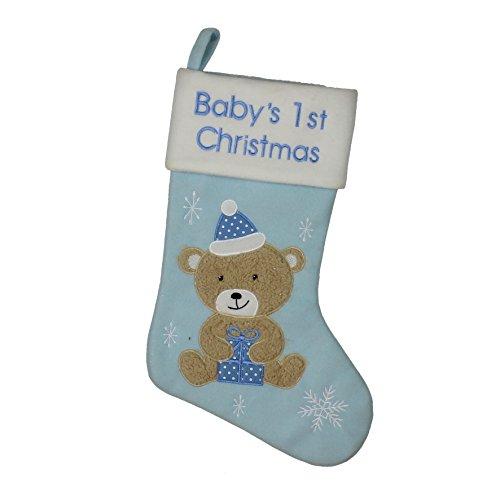 """Strumpf für das erste Weihnachten mit der Aufschrift """"Baby's 1st Christmas"""" und dem Teddybär-Motiv, für Jungen in Zartblau"""