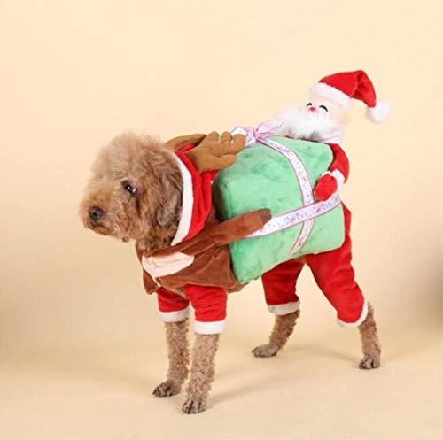 Sweetheart -LMM Lustiges Haustierkostüm für Hunde und Katzen, für den Winter und Herbst, Santa Claus, S(Back Length ()