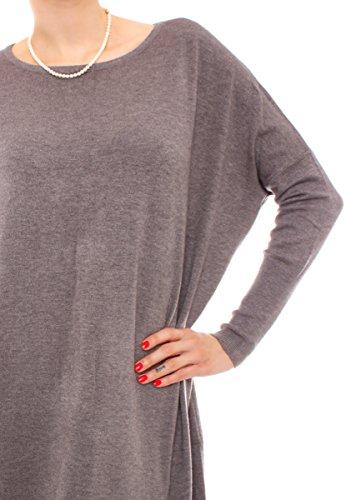 Fragolamoda Damen Oversize Feinstrick Pullover Kleid One Size Dunkelgrau