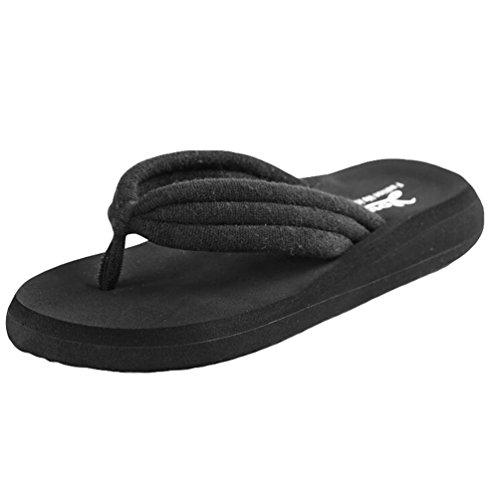 Yiiquan Donna Estate Sandali Pantofole Zeppa Infradito Spiaggia Sandali Nero #1