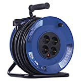 EMOS Enrouleur de câble avec câble renforcé, 40 m avec 4 Prises Schuko 2,5 mm, Tambour intérieur, Classe de Protection IP20 pour l'intérieur