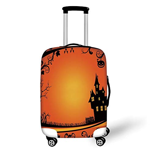 Travel Luggage Cover Suitcase Protector,Halloween,Framework with Curvy Tree Branches Swirls Leaves Gothic Castle Festival Decorative,Orange Yellow Black,for Travels 19x27.5Inch