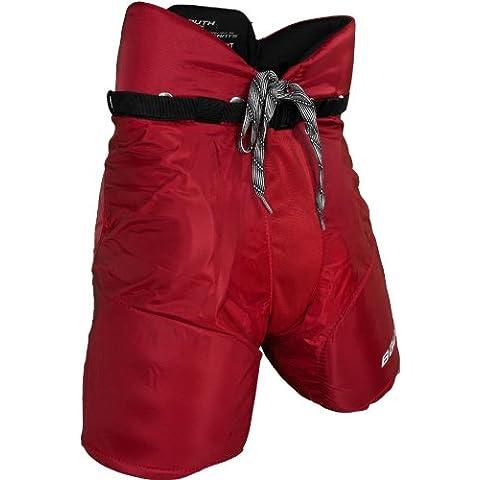 Bauer Nexus 400Bambini–Pantalones de hockey sobre hielo para niño, color Rojo, tamaño