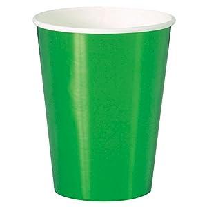 Unique Party 5165612oz Lámina verde vasos de papel, pack de 8