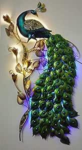 Mehar Furniture Big LED Iron Metal Peacock Birds for Your Room Beautifully Built Walldecor | Homedecor - Multicolor